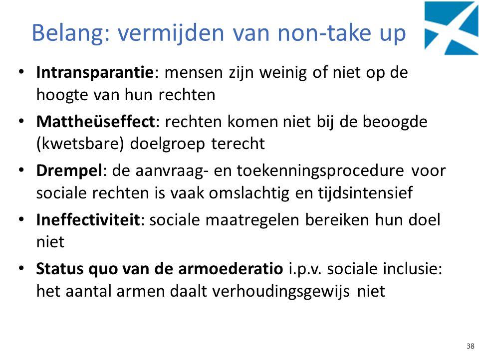 Belang: vermijden van non-take up Intransparantie: mensen zijn weinig of niet op de hoogte van hun rechten Mattheüseffect: rechten komen niet bij de b