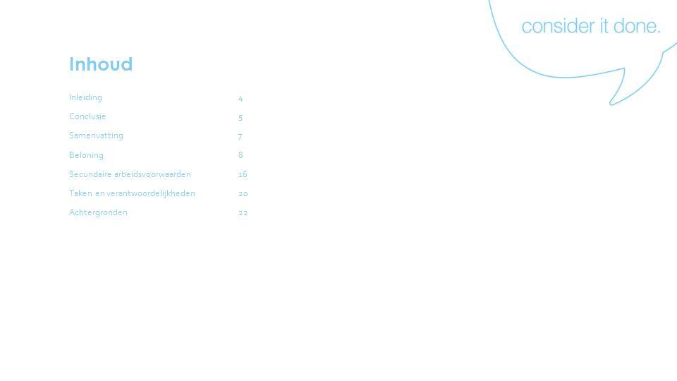 Inhoud Inleiding4 Conclusie5 Samenvatting7 Beloning8 Secundaire arbeidsvoorwaarden16 Taken en verantwoordelijkheden20 Achtergronden22