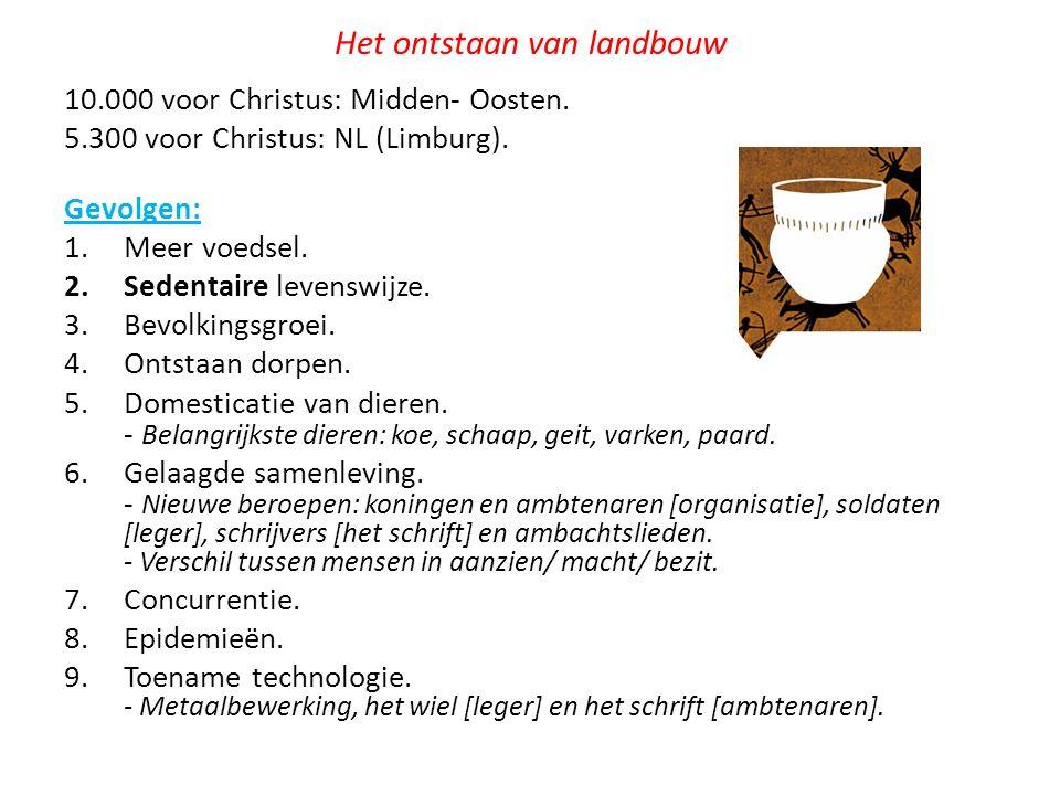 Het ontstaan van landbouw 10.000 voor Christus: Midden- Oosten. 5.300 voor Christus: NL (Limburg). Gevolgen: 1.Meer voedsel. 2.Sedentaire levenswijze.
