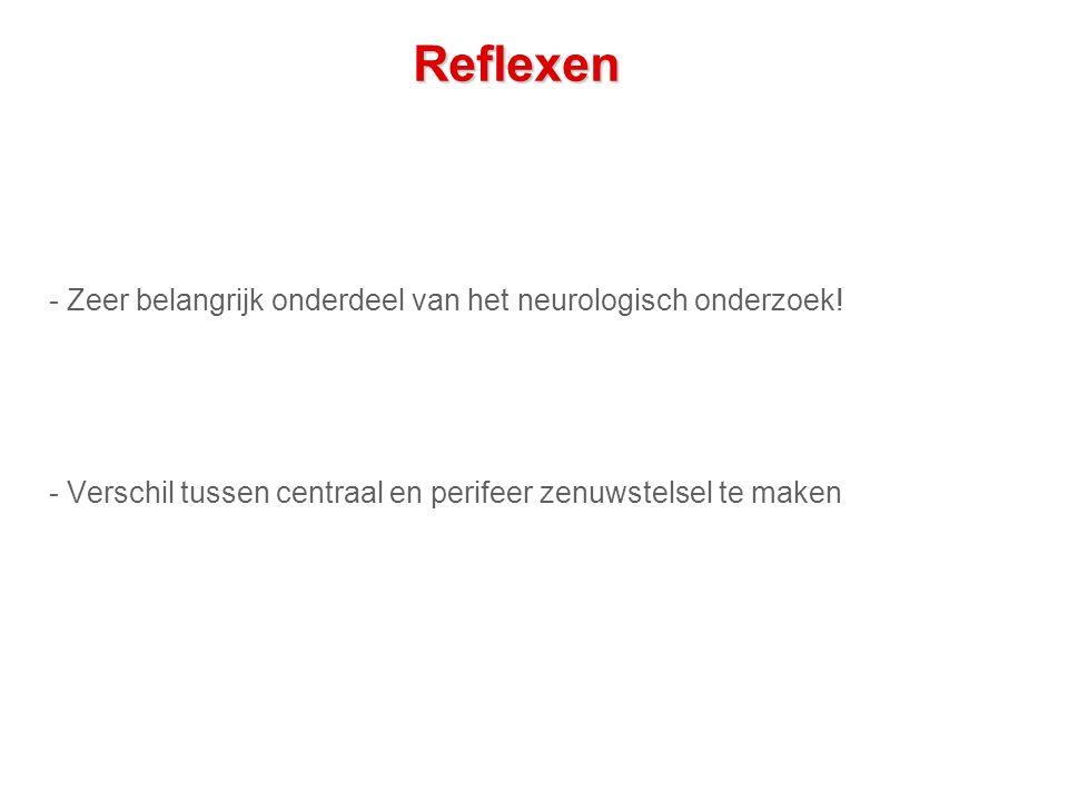 Reflexen - Zeer belangrijk onderdeel van het neurologisch onderzoek.