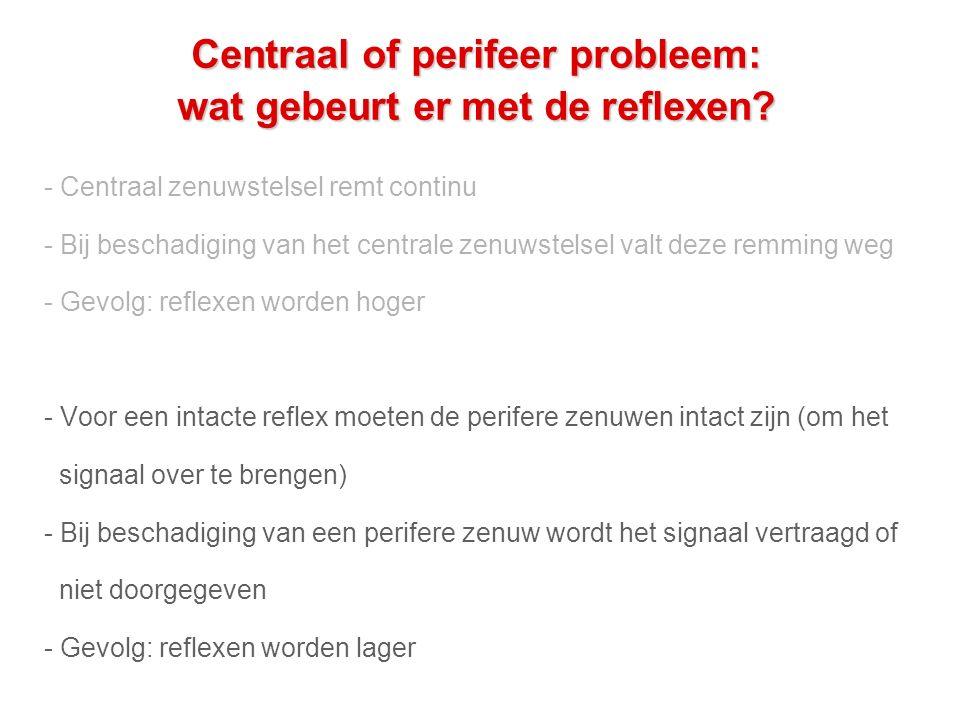 Centraal of perifeer probleem: wat gebeurt er met de reflexen.