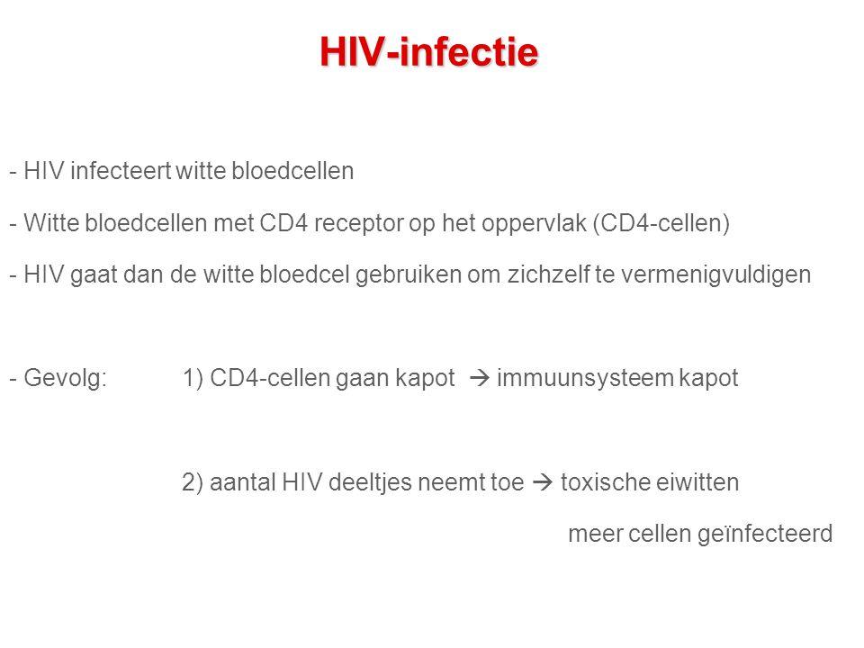 HIV-infectie - HIV infecteert witte bloedcellen - Witte bloedcellen met CD4 receptor op het oppervlak (CD4-cellen) - HIV gaat dan de witte bloedcel gebruiken om zichzelf te vermenigvuldigen - Gevolg: 1) CD4-cellen gaan kapot  immuunsysteem kapot 2) aantal HIV deeltjes neemt toe  toxische eiwitten meer cellen geïnfecteerd