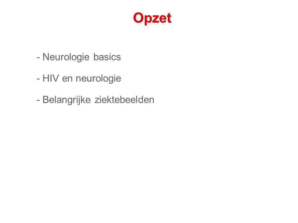 Conclusie - Veel neurologische aandoeningen tgv HIV - Meest voorkomende: lichte geheugenstoornissen en polyneuropathie - Belangrijk om neurologische manifestaties van HIV tijdig te herkennen - Mogelijk versnelde veroudering?