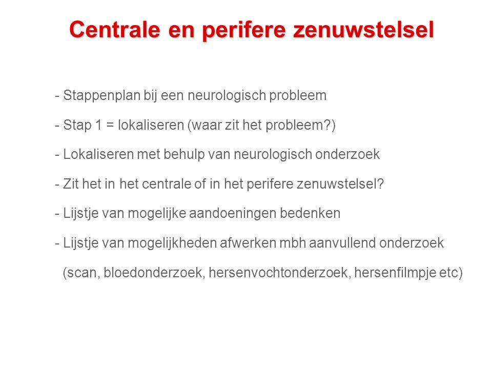 Centrale en perifere zenuwstelsel - Stappenplan bij een neurologisch probleem - Stap 1 = lokaliseren (waar zit het probleem?) - Lokaliseren met behulp van neurologisch onderzoek - Zit het in het centrale of in het perifere zenuwstelsel.