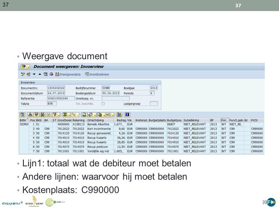 37 Weergave document Lijn1: totaal wat de debiteur moet betalen Andere lijnen: waarvoor hij moet betalen Kostenplaats: C990000 37