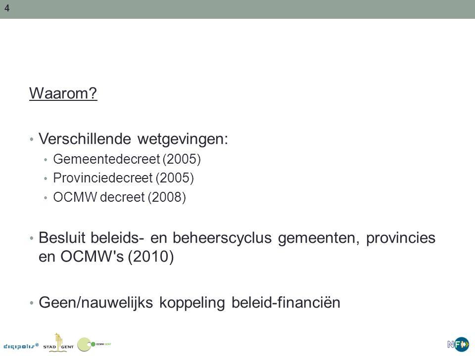 4 Waarom? Verschillende wetgevingen: Gemeentedecreet (2005) Provinciedecreet (2005) OCMW decreet (2008) Besluit beleids- en beheerscyclus gemeenten, p