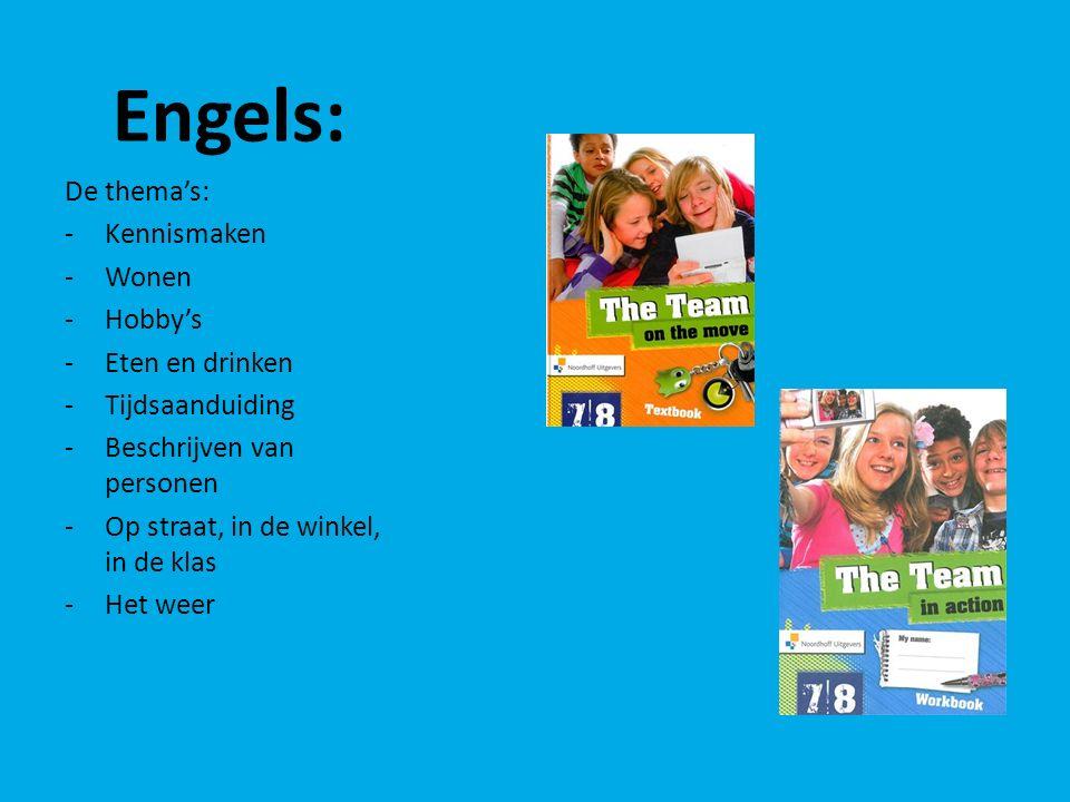 Engels: De thema's: -Kennismaken -Wonen -Hobby's -Eten en drinken -Tijdsaanduiding -Beschrijven van personen -Op straat, in de winkel, in de klas -Het