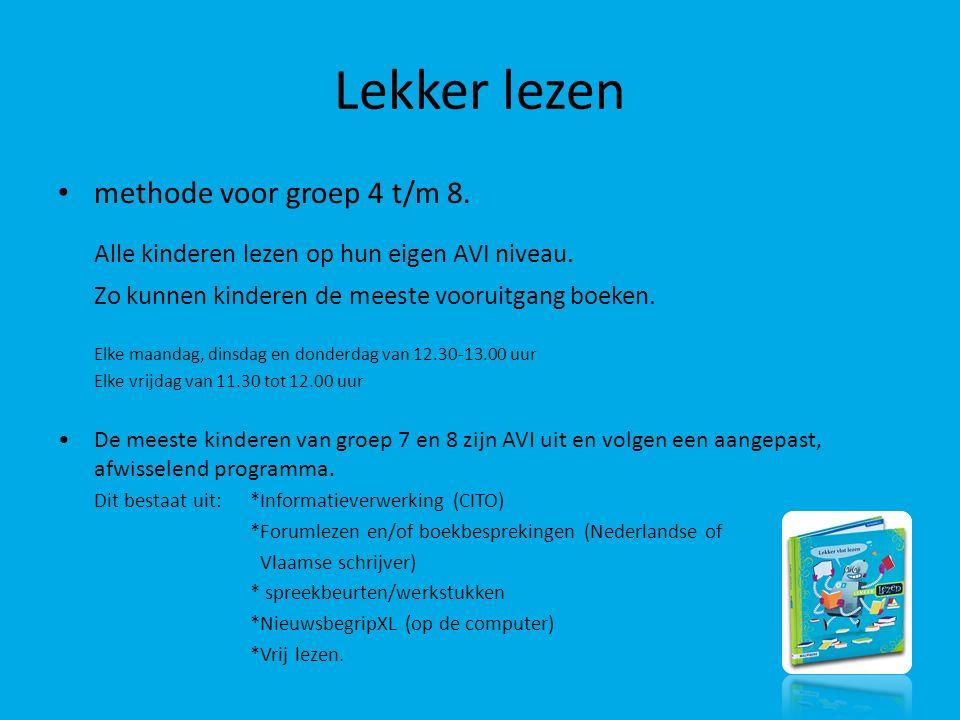Lekker lezen methode voor groep 4 t/m 8. Alle kinderen lezen op hun eigen AVI niveau. Zo kunnen kinderen de meeste vooruitgang boeken. Elke maandag, d