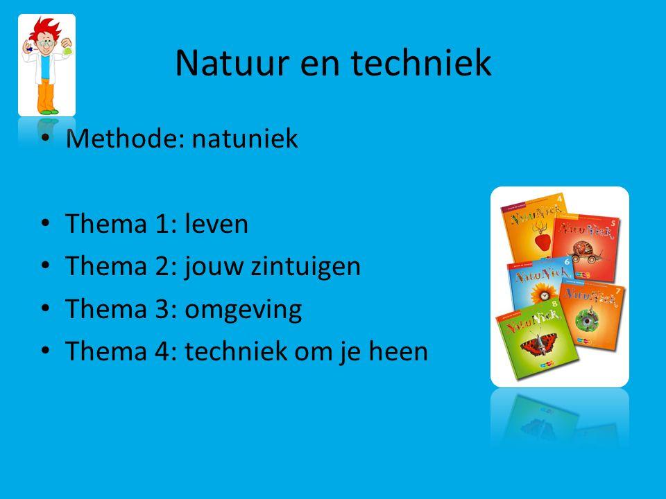 Natuur en techniek Methode: natuniek Thema 1: leven Thema 2: jouw zintuigen Thema 3: omgeving Thema 4: techniek om je heen