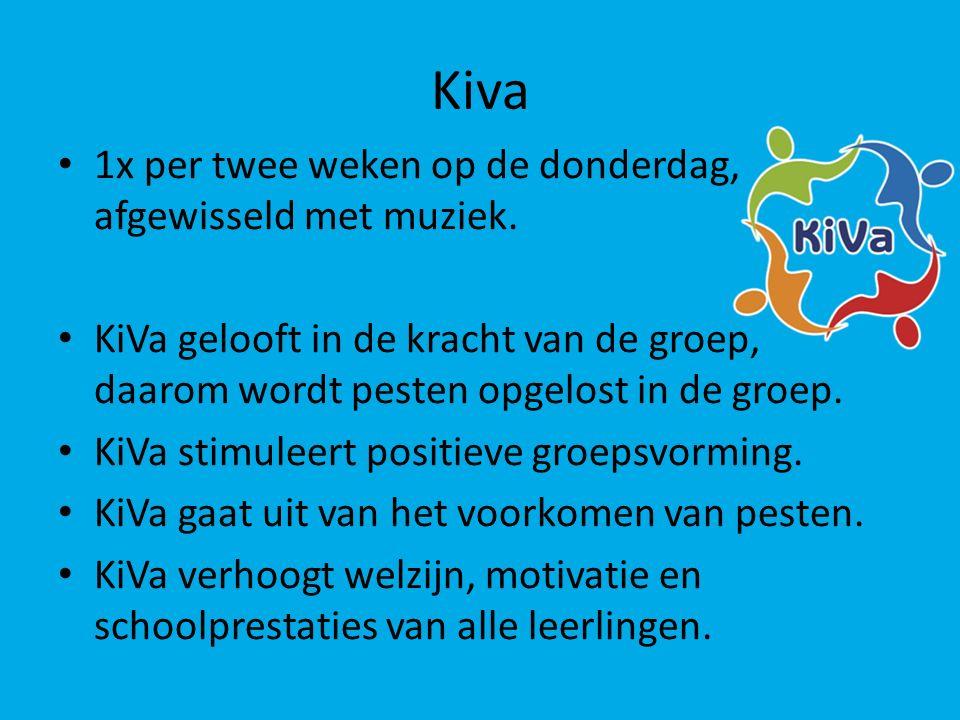 Kiva 1x per twee weken op de donderdag, afgewisseld met muziek. KiVa gelooft in de kracht van de groep, daarom wordt pesten opgelost in de groep. KiVa