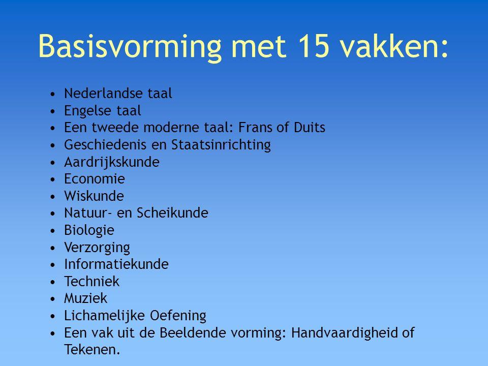 Basisvorming met 15 vakken: Nederlandse taal Engelse taal Een tweede moderne taal: Frans of Duits Geschiedenis en Staatsinrichting Aardrijkskunde Econ