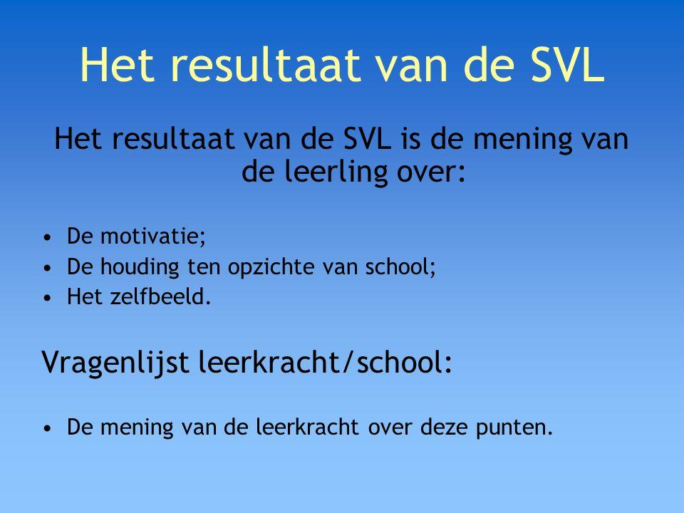 Het resultaat van de SVL Het resultaat van de SVL is de mening van de leerling over: De motivatie; De houding ten opzichte van school; Het zelfbeeld.