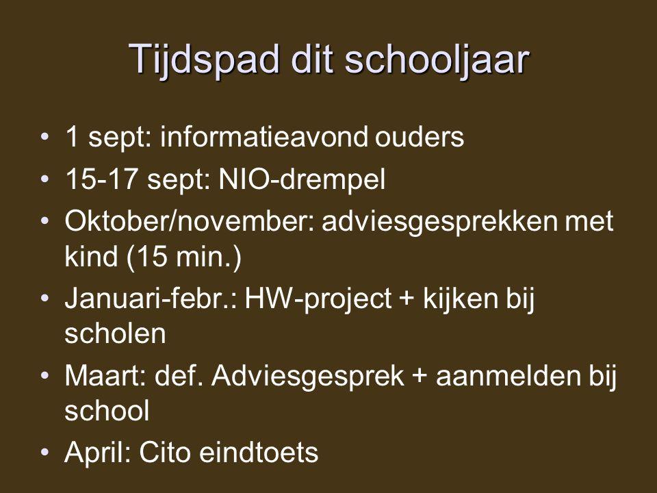Tijdspad dit schooljaar 1 sept: informatieavond ouders 15-17 sept: NIO-drempel Oktober/november: adviesgesprekken met kind (15 min.) Januari-febr.: HW-project + kijken bij scholen Maart: def.