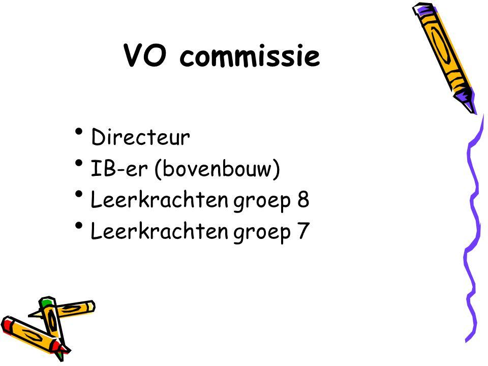 VO commissie Directeur IB-er (bovenbouw) Leerkrachten groep 8 Leerkrachten groep 7