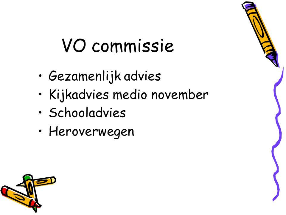 VO commissie Gezamenlijk advies Kijkadvies medio november Schooladvies Heroverwegen