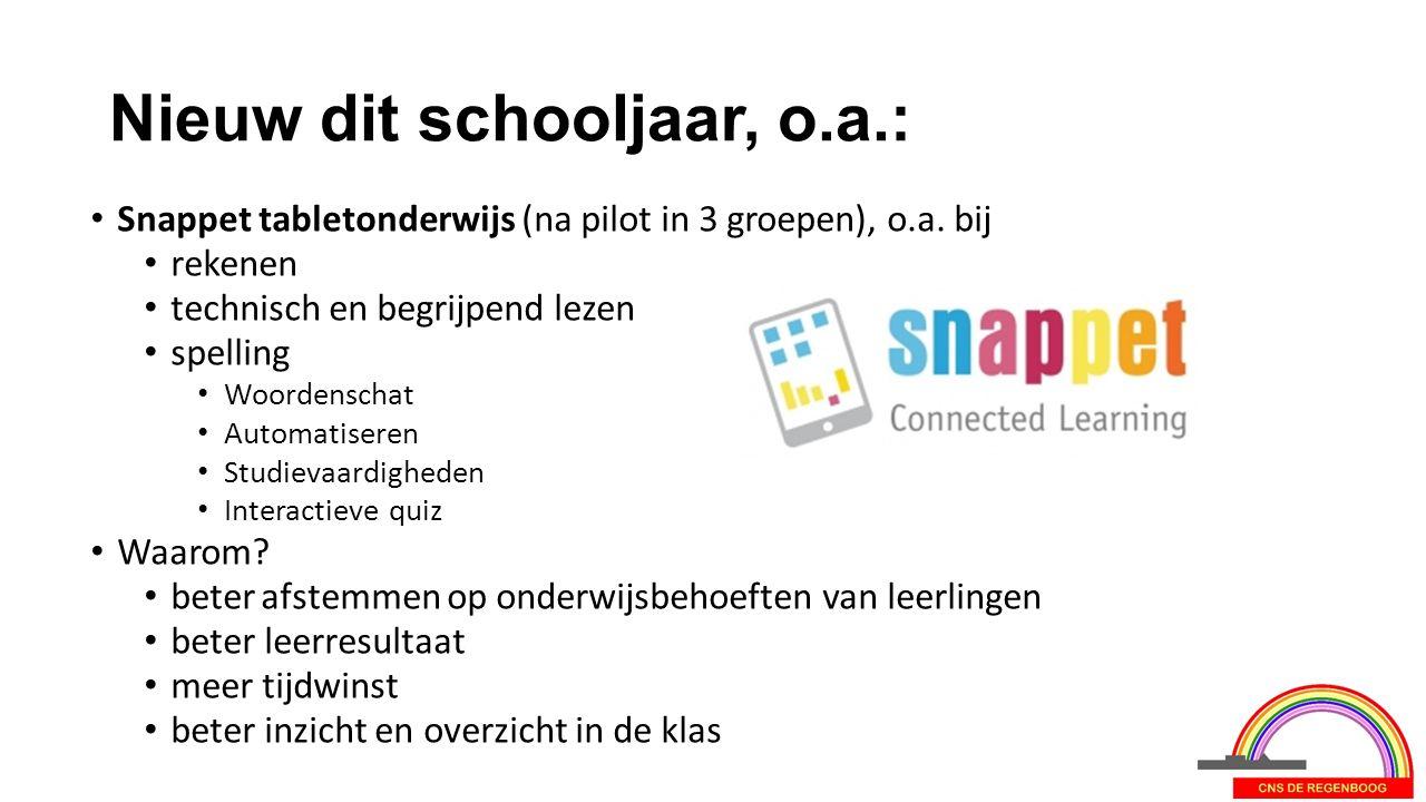 Nieuw dit schooljaar, o.a.: Snappet tabletonderwijs (na pilot in 3 groepen), o.a. bij rekenen technisch en begrijpend lezen spelling Woordenschat Auto