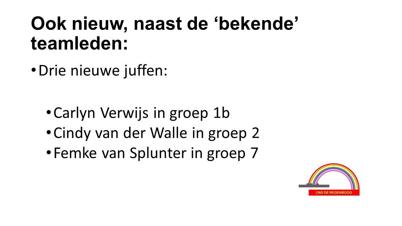 Ook nieuw, naast de 'bekende' teamleden: Drie nieuwe juffen: Carlyn Verwijs in groep 1b Cindy van der Walle in groep 2 Femke van Splunter in groep 7