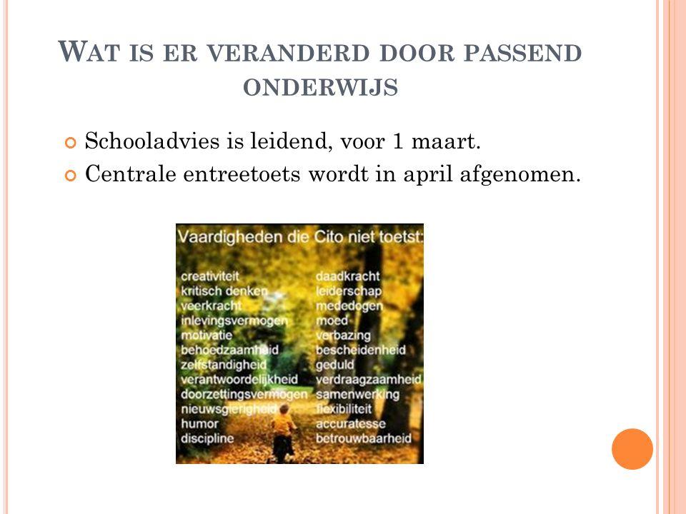 W AT IS ER VERANDERD DOOR PASSEND ONDERWIJS Schooladvies is leidend, voor 1 maart. Centrale entreetoets wordt in april afgenomen.