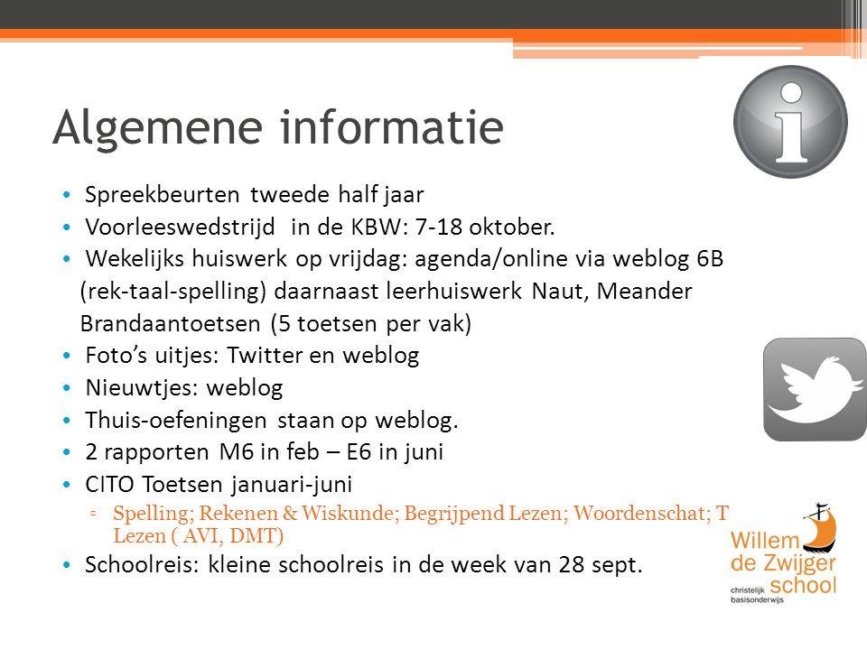 Algemene informatie Spreekbeurten tweede half jaar Voorleeswedstrijd in de KBW: 7-18 oktober.