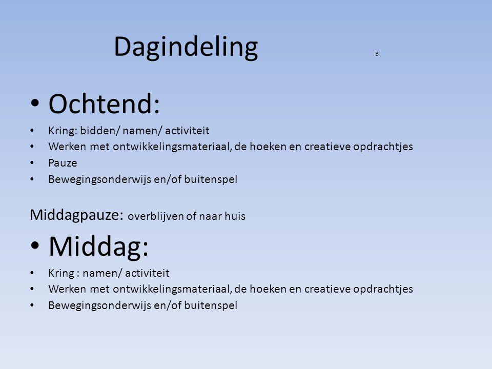 Dagindeling B Ochtend: Kring: bidden/ namen/ activiteit Werken met ontwikkelingsmateriaal, de hoeken en creatieve opdrachtjes Pauze Bewegingsonderwijs