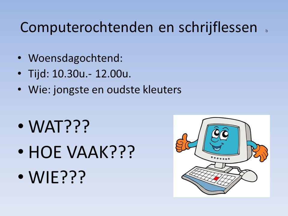 Computerochtenden en schrijflessen b Woensdagochtend: Tijd: 10.30u.- 12.00u.