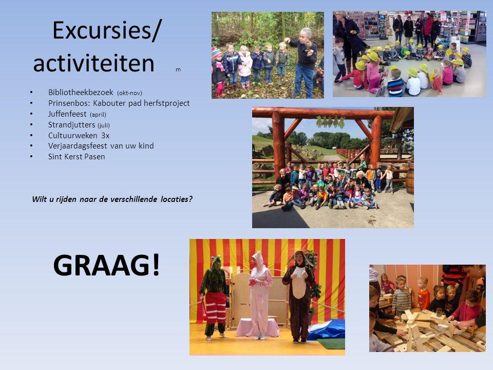 Excursies/ activiteiten m Bibliotheekbezoek (okt-nov) Prinsenbos: Kabouter pad herfstproject Juffenfeest (april) Strandjutters (juli) Cultuurweken 3x