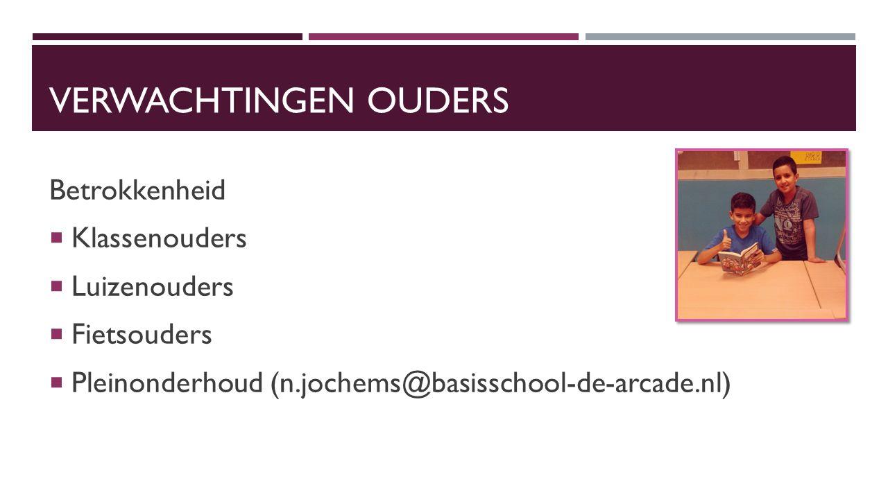VERWACHTINGEN OUDERS Betrokkenheid  Klassenouders  Luizenouders  Fietsouders  Pleinonderhoud (n.jochems@basisschool-de-arcade.nl)