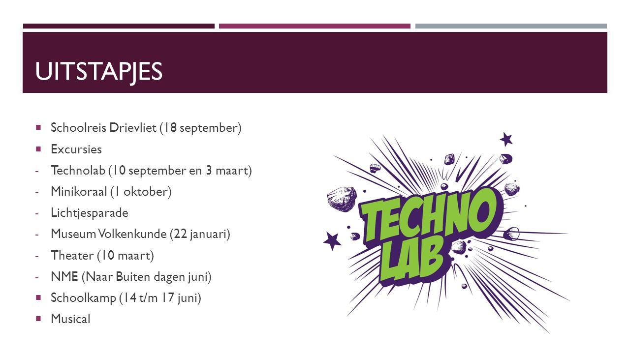 UITSTAPJES  Schoolreis Drievliet (18 september)  Excursies - Technolab (10 september en 3 maart) - Minikoraal (1 oktober) - Lichtjesparade - Museum Volkenkunde (22 januari) - Theater (10 maart) - NME (Naar Buiten dagen juni)  Schoolkamp (14 t/m 17 juni)  Musical
