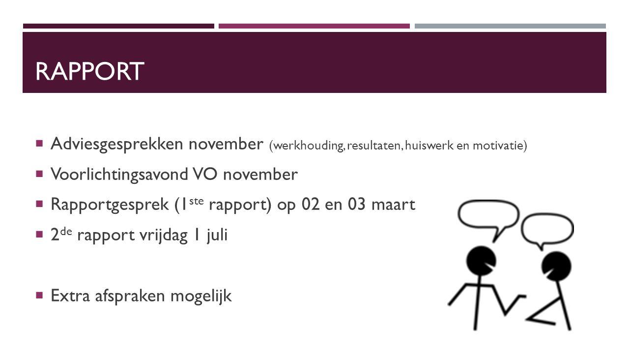 RAPPORT  Adviesgesprekken november (werkhouding, resultaten, huiswerk en motivatie)  Voorlichtingsavond VO november  Rapportgesprek (1 ste rapport)
