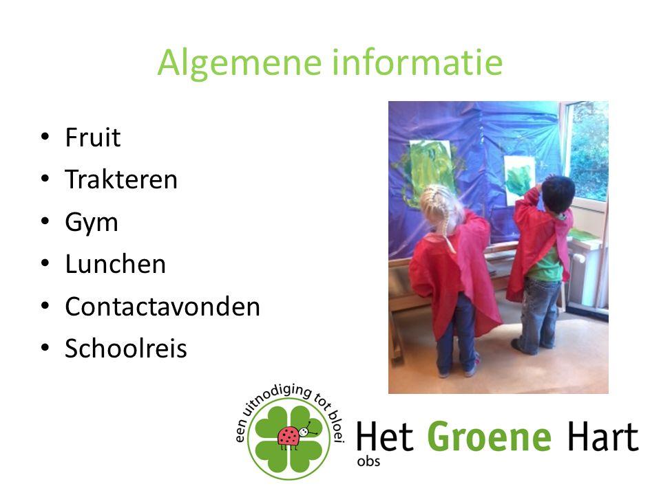 Algemene informatie Fruit Trakteren Gym Lunchen Contactavonden Schoolreis