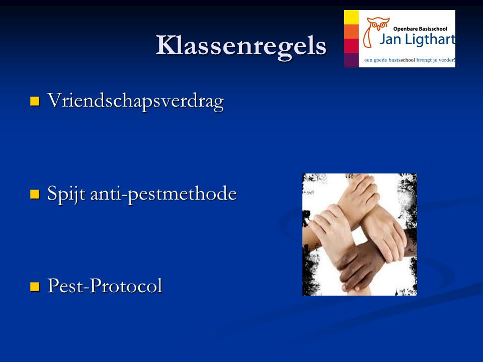 Klassenregels Vriendschapsverdrag Vriendschapsverdrag Spijt anti-pestmethode Spijt anti-pestmethode Pest-Protocol Pest-Protocol