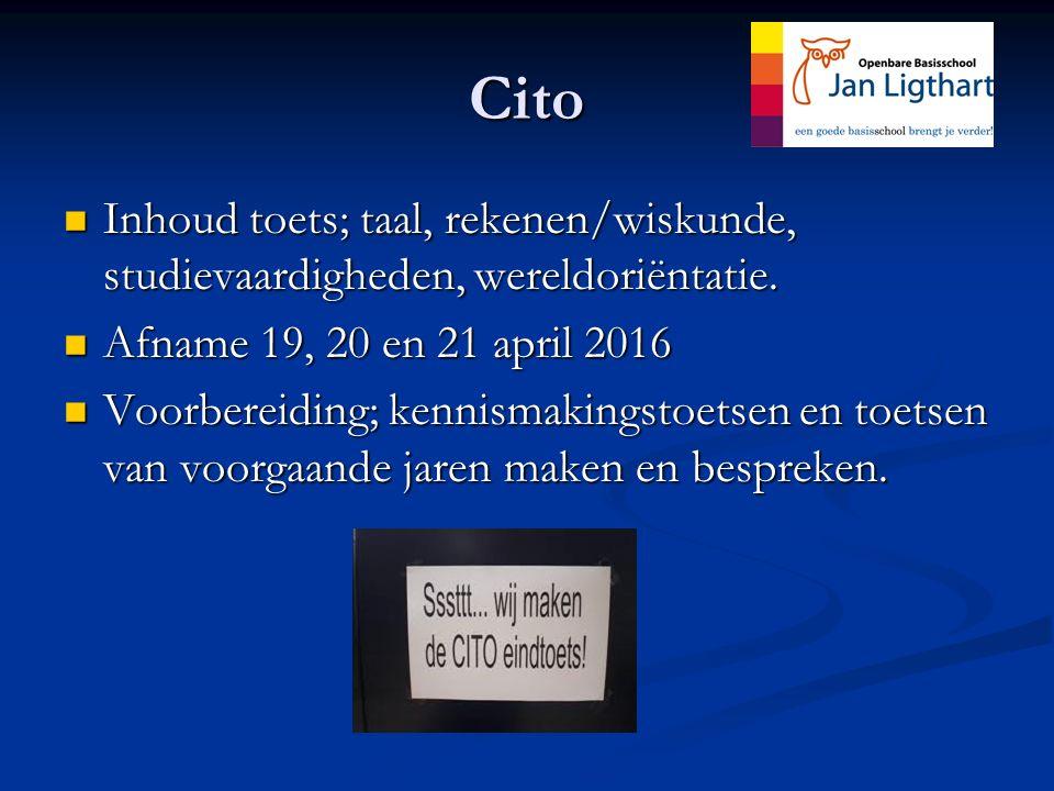 Cito Inhoud toets; taal, rekenen/wiskunde, studievaardigheden, wereldoriëntatie.