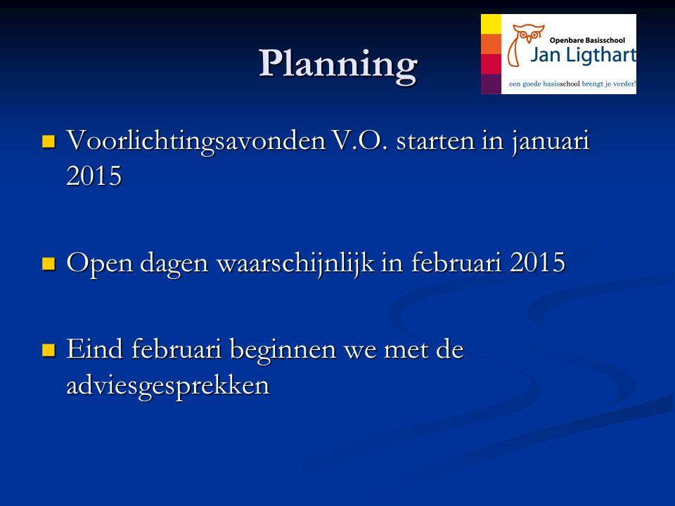 Planning Voorlichtingsavonden V.O.starten in januari 2015 Voorlichtingsavonden V.O.
