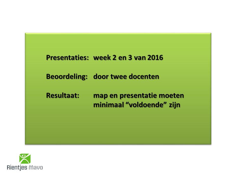 Presentaties: week 2 en 3 van 2016 Beoordeling: door twee docenten Resultaat: map en presentatie moeten minimaal voldoende zijn