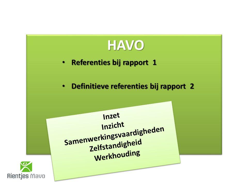 HAVOHAVO Referenties bij rapport 1 Referenties bij rapport 1 Definitieve referenties bij rapport 2 Definitieve referenties bij rapport 2 Inzet Inzicht Samenwerkingsvaardigheden Zelfstandigheid Werkhouding Inzet Inzicht Samenwerkingsvaardigheden Zelfstandigheid Werkhouding