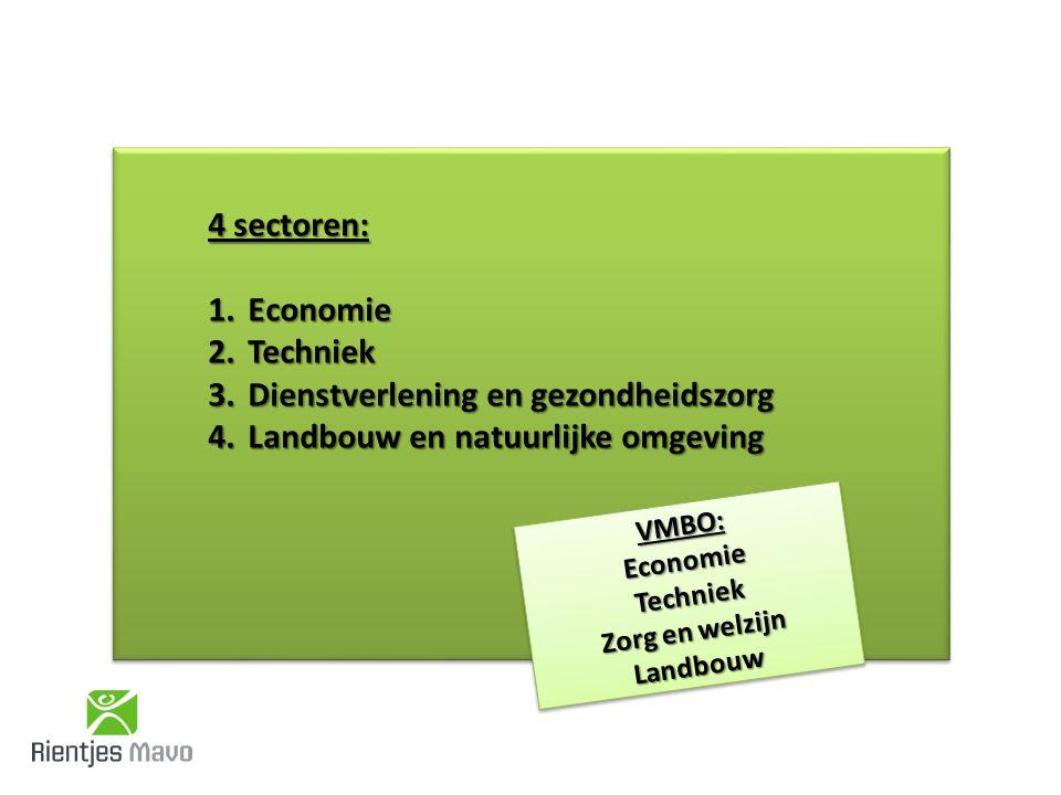 4 sectoren: 1.Economie 2.Techniek 3.Dienstverlening en gezondheidszorg 4.Landbouw en natuurlijke omgeving VMBO:EconomieTechniek Zorg en welzijn LandbouwVMBO:EconomieTechniek Landbouw