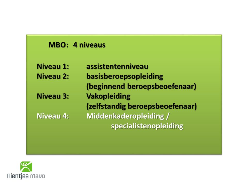 MBO: 4 niveaus Niveau 1: assistentenniveau Niveau 2: basisberoepsopleiding (beginnend beroepsbeoefenaar) Niveau 3: Vakopleiding (zelfstandig beroepsbeoefenaar) Niveau 4: Middenkaderopleiding / specialistenopleiding
