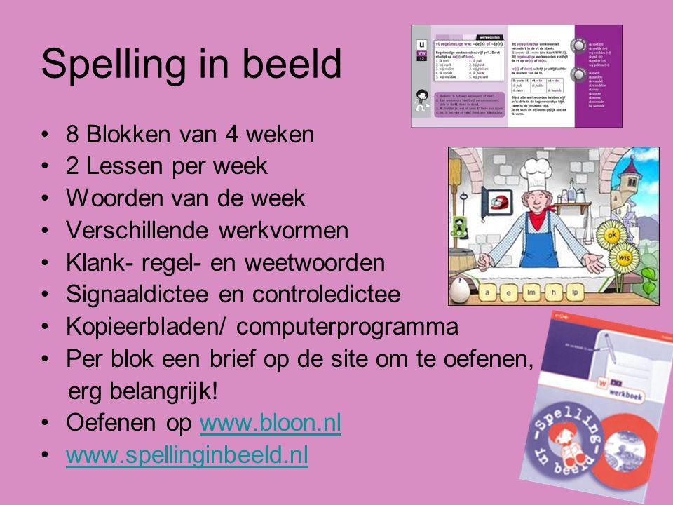 Spelling in beeld 8 Blokken van 4 weken 2 Lessen per week Woorden van de week Verschillende werkvormen Klank- regel- en weetwoorden Signaaldictee en c