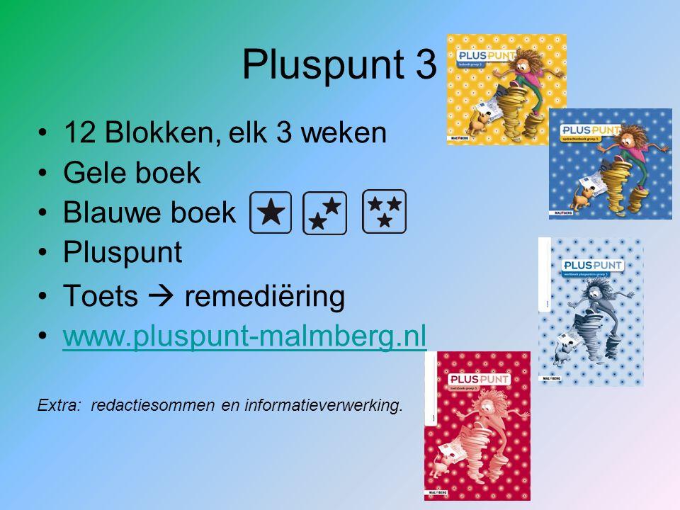 Pluspunt 3 12 Blokken, elk 3 weken Gele boek Blauwe boek Pluspunt Toets  remediëring www.pluspunt-malmberg.nl Extra: redactiesommen en informatieverw
