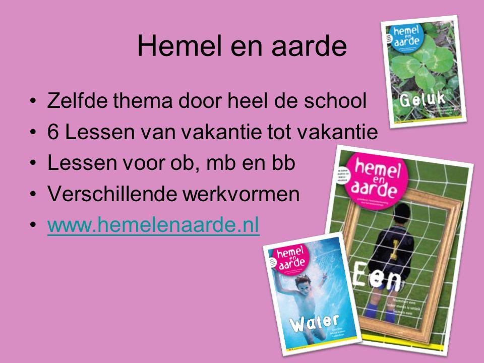 Hemel en aarde Zelfde thema door heel de school 6 Lessen van vakantie tot vakantie Lessen voor ob, mb en bb Verschillende werkvormen www.hemelenaarde.