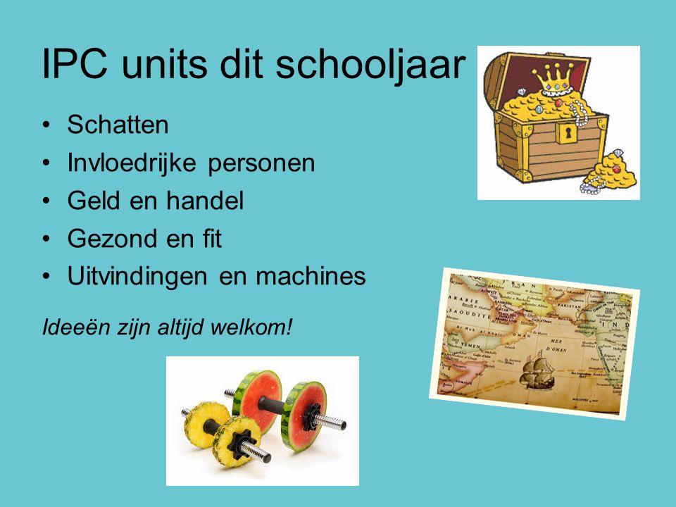IPC units dit schooljaar Schatten Invloedrijke personen Geld en handel Gezond en fit Uitvindingen en machines Ideeën zijn altijd welkom!