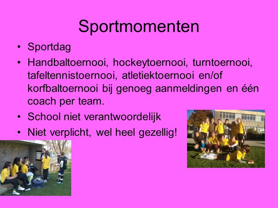 Sportmomenten Sportdag Handbaltoernooi, hockeytoernooi, turntoernooi, tafeltennistoernooi, atletiektoernooi en/of korfbaltoernooi bij genoeg aanmeldin