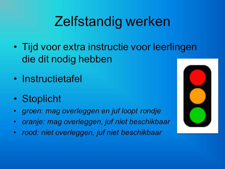 Zelfstandig werken Tijd voor extra instructie voor leerlingen die dit nodig hebben Instructietafel Stoplicht groen: mag overleggen en juf loopt rondje