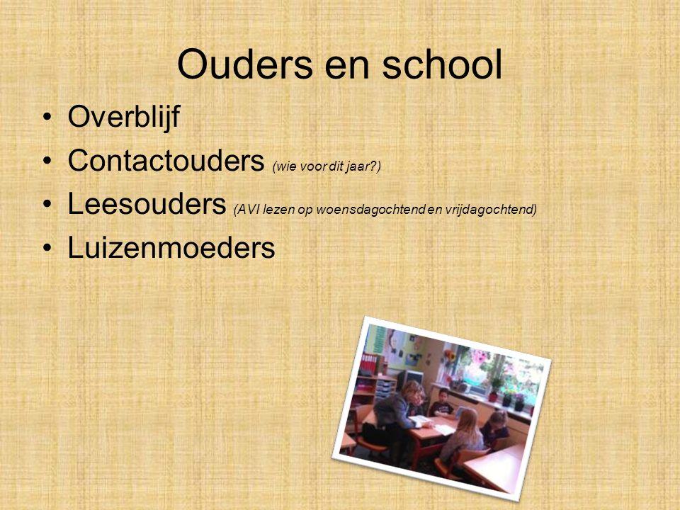 Ouders en school Overblijf Contactouders (wie voor dit jaar?) Leesouders (AVI lezen op woensdagochtend en vrijdagochtend) Luizenmoeders