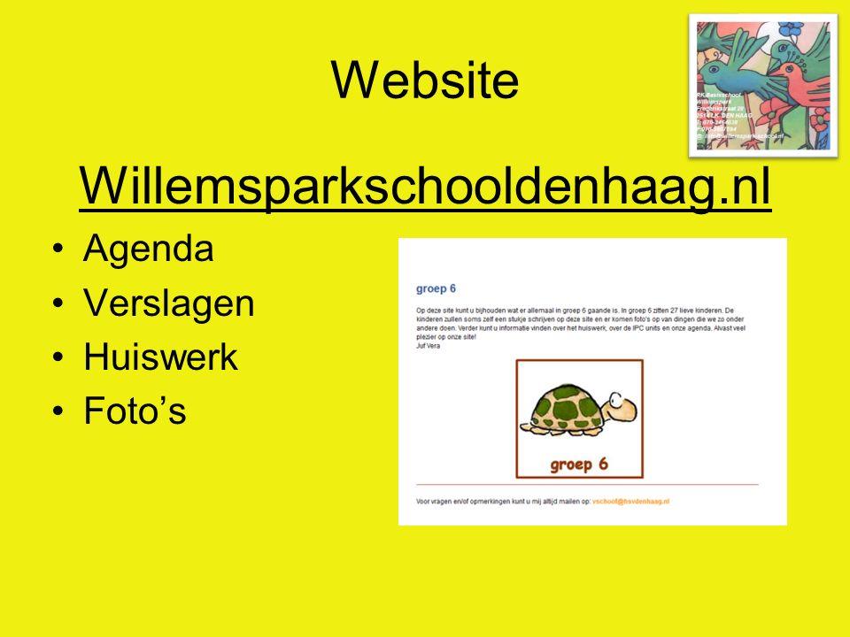 Website Willemsparkschooldenhaag.nl Agenda Verslagen Huiswerk Foto's
