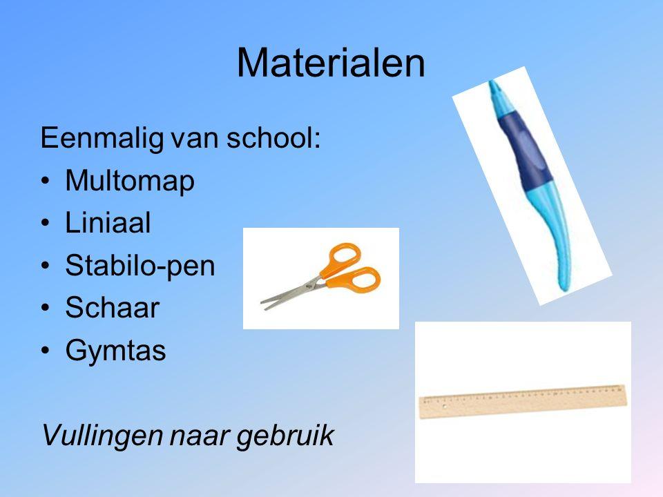 Materialen Eenmalig van school: Multomap Liniaal Stabilo-pen Schaar Gymtas Vullingen naar gebruik