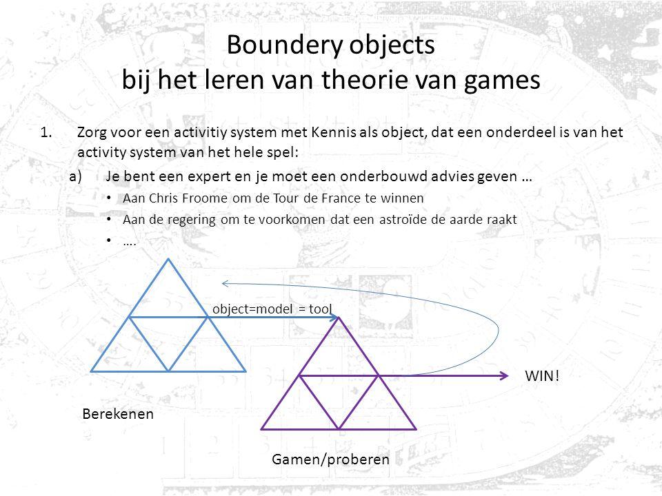 Boundery objects bij het leren van theorie van games 1.Zorg voor een activitiy system met Kennis als object, dat een onderdeel is van het activity sys