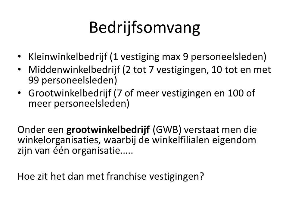 Bedrijfsomvang Kleinwinkelbedrijf (1 vestiging max 9 personeelsleden) Middenwinkelbedrijf (2 tot 7 vestigingen, 10 tot en met 99 personeelsleden) Groo