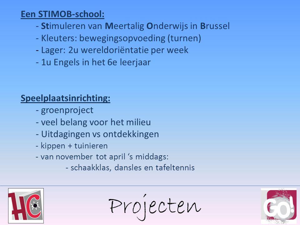 Projecten Een STIMOB-school: - Stimuleren van Meertalig Onderwijs in Brussel - Kleuters: bewegingsopvoeding (turnen) - Lager: 2u wereldoriëntatie per week - 1u Engels in het 6e leerjaar Speelplaatsinrichting: - groenproject - veel belang voor het milieu - Uitdagingen vs ontdekkingen - kippen + tuinieren - van november tot april 's middags: - schaakklas, dansles en tafeltennis