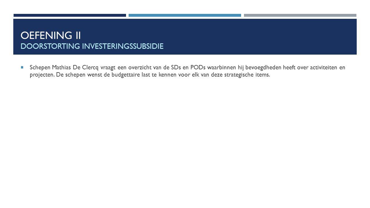 OEFENING II DOORSTORTING INVESTERINGSSUBSIDIE  Schepen Mathias De Clercq vraagt een overzicht van de SDs en PODs waarbinnen hij bevoegdheden heeft ov